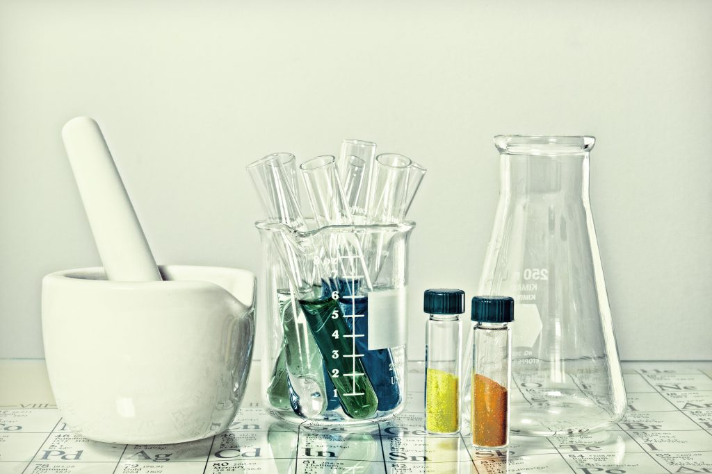 Chemistry glassware with filters added.